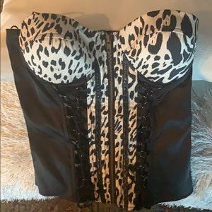 Zippered Zebra print bustier